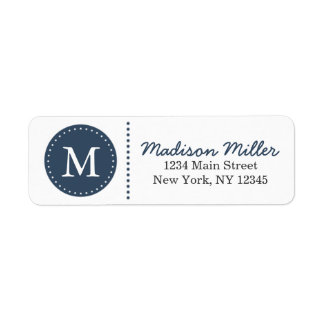 Navy Blue Circle Dots Custom Monogram Label