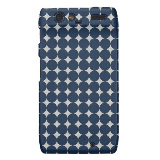 Navy Blue Circles and Silver Diamonds Pattern Gift Motorola Droid RAZR Covers