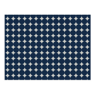 Navy Blue Circles and Silver Diamonds Pattern Gift Postcard