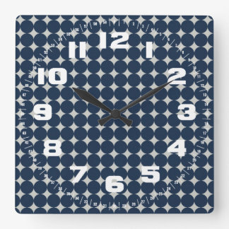 Navy Blue Circles and Silver Diamonds Pattern Gift Square Wall Clock