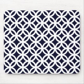 Navy Blue Circles Pattern Mousepad