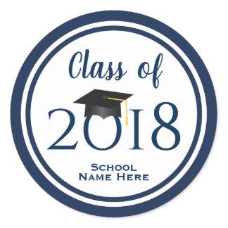 Navy Blue Class of 2018 Grad Cap Graduation Classic Round Sticker