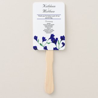 Navy Blue Clematis Watercolor Floral Wedding Hand Fan