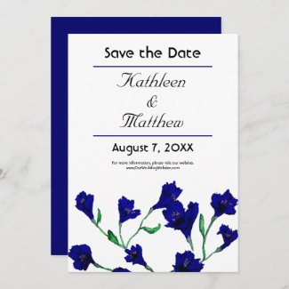 Navy Blue Clematis Watercolor Floral Wedding Save The Date