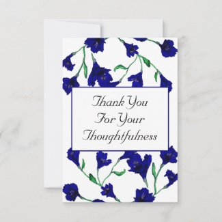 Navy Blue Clematis Watercolor Floral Wedding Thank You Card