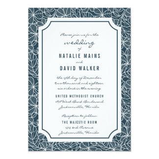 Navy Blue Clover Patch Wedding Invitation