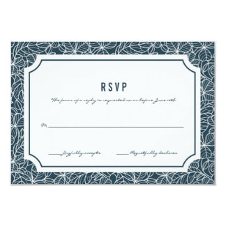 Navy Blue Clover Patch Wedding RSVP Card
