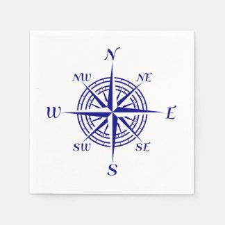 Navy Blue Coastal Compass Rose Napkin