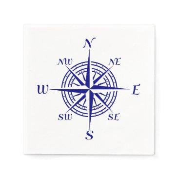 Beach Themed Navy Blue Coastal Compass Rose Napkin