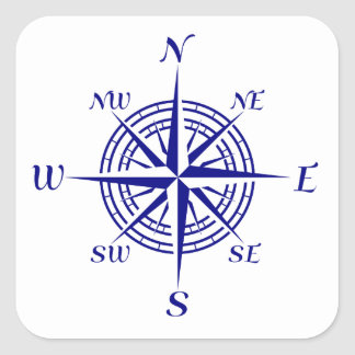 Navy Blue Coastal Compass Rose Square Sticker