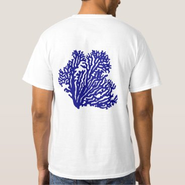 Beach Themed Navy Blue Coastal Coral T-Shirt