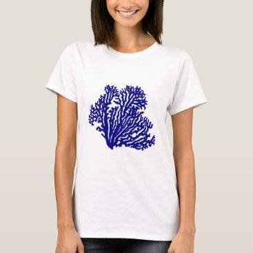 Beach Themed Navy Blue Coastal Coral T-Shirt