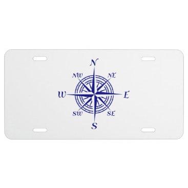 Beach Themed Navy Blue Coastal Decor Compass Rose License Plate