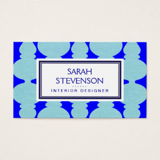 Navy Blue, Cobalt and Turquoise Interior Design Business Card