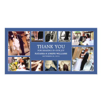 NAVY BLUE COLLAGE | WEDDING THANK YOU CARD PHOTO CARD