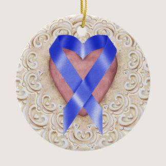 Navy Blue Colon Cancer Ribbon From the Heart - SR Ceramic Ornament