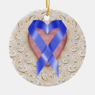 Navy Blue Colon Cancer Ribbon From the Heart - SR Double-Sided Ceramic Round Christmas Ornament