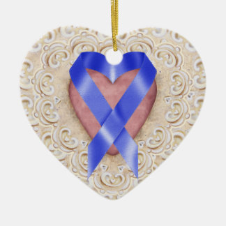 Navy Blue Colon Cancer Ribbon From the Heart - SR Double-Sided Heart Ceramic Christmas Ornament