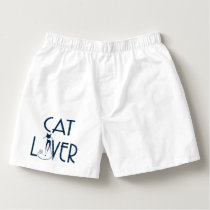 Navy Blue Concept Text Design Cat Lover Boxers