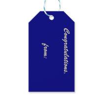 Navy Blue Congratulations Gift Tag (gold script)
