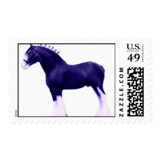 navy blue contemporary art clydesdale postage stamp