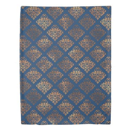 Navy Blue Copper Antique Gold Damask Pattern Duvet Cover