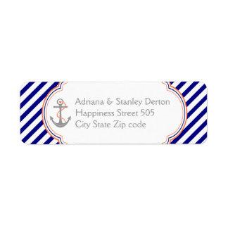 Navy blue, coral anchor nautical wedding label