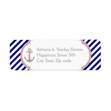 Beach Themed Navy blue, coral anchor nautical wedding label