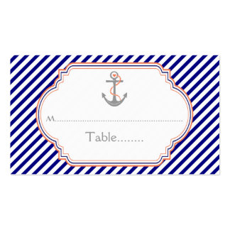 Navy blue coral anchor nautical wedding place card