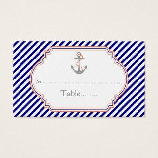 Navy blue coral anchor nautical wedding place card