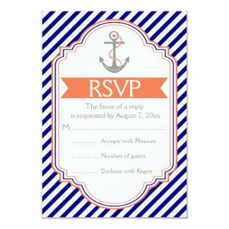 Navy blue, coral anchor nautical wedding RSVP Card