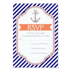 Navy blue, coral anchor nautical wedding RSVP 3.5