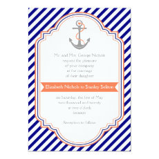 Navy blue, coral anchor & stripes nautical wedding 5