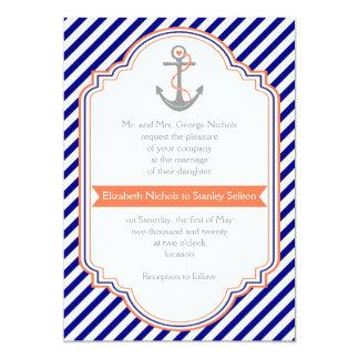 Navy blue, coral anchor & stripes nautical wedding 5x7 paper invitation card