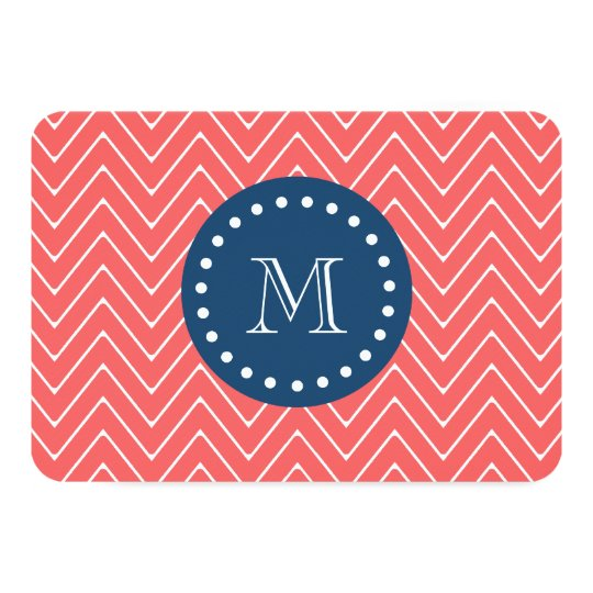 Navy Blue, Coral Chevron Pattern | Your Monogram Card
