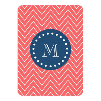 "Navy Blue, Coral Chevron Pattern | Your Monogram 4.5"" X 6.25"" Invitation Card"