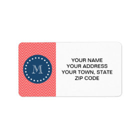 Navy Blue, Coral Chevron Pattern | Your Monogram Personalized Address Labels