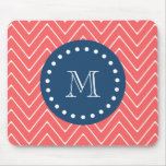 Navy Blue, Coral Chevron Pattern | Your Monogram Mouse Pad