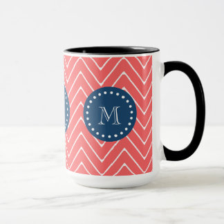 Navy Blue, Coral Chevron Pattern | Your Monogram Mug