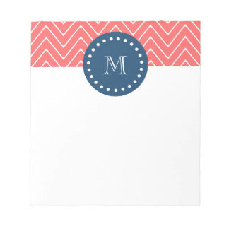 Navy Blue, Coral Chevron Pattern | Your Monogram Notepad