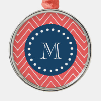 Navy Blue, Coral Chevron Pattern | Your Monogram Ornaments