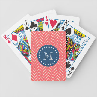 Navy Blue Coral Chevron Pattern Your Monogram Bicycle Card Deck