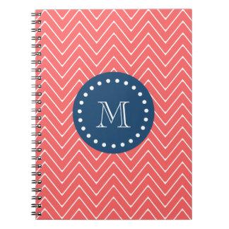 Navy Blue, Coral Chevron Pattern | Your Monogram Spiral Notebook