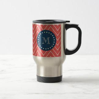 Navy Blue, Coral Chevron Pattern | Your Monogram Travel Mug
