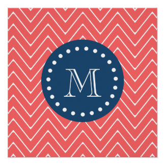 Navy Blue, Coral Chevron Pattern | Your Monogram Perfect Poster
