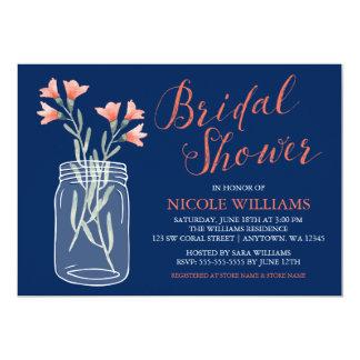Navy Blue Coral Flowers Mason Jar Bridal Shower Card