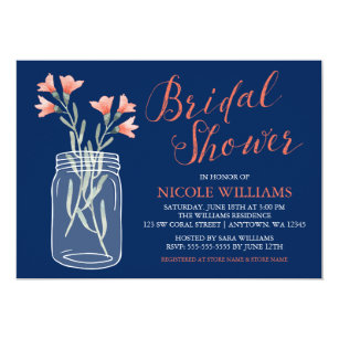 Coral bridal shower invitations announcements zazzle navy blue coral flowers mason jar bridal shower invitation filmwisefo