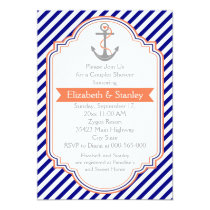 Navy blue, coral nautical couples wedding shower invitation