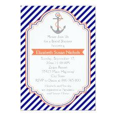 Navy blue, coral nautical wedding bridal shower 5