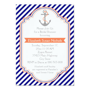 Navy blue, coral nautical wedding bridal shower 5x7 paper invitation card